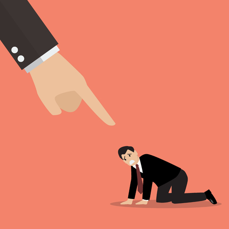 desperate: Angry boss being complaining to desperate businessman. Vector Illustration Illustration