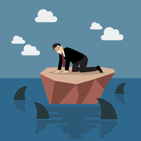 business risk: Helpless businessman on a small island which surrounded by sharks. Business risk concept