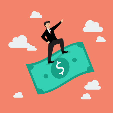 flying money: Businessman standing on a flying money. Business concept