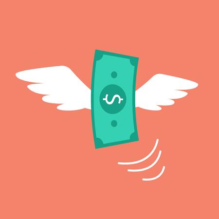 money flying: Dinero volar como un pájaro. Ilustración vectorial