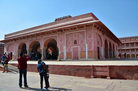 maharaja: Jaipur, India - December 29, 2014: People visit The City Palace complex on December 29, 2014 in Jaipur, India. It was the seat of the Maharaja of Jaipur, the head of the Kachwaha Rajput clan.
