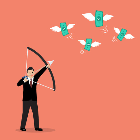 hitting: Businessman with a bow and arrow hitting the money fly. Business concept