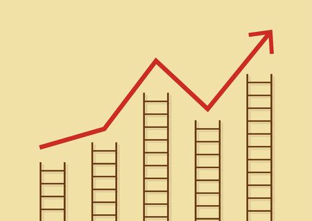 growth chart: Growth chart with ladders. Business concept Illustration
