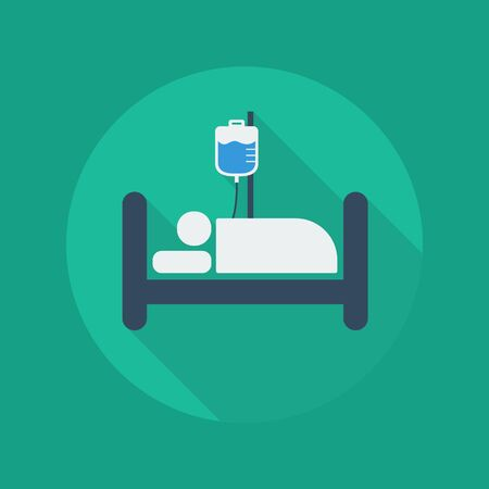 surgical department: Medical Flat Icon With Long Shadow. Hospital bed Illustration