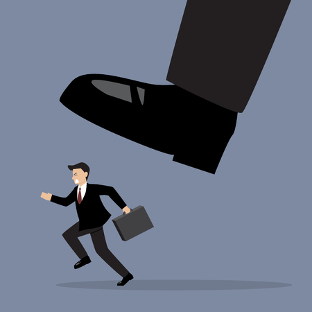 mobbing: Businessman run away from stomping foot. Business concept