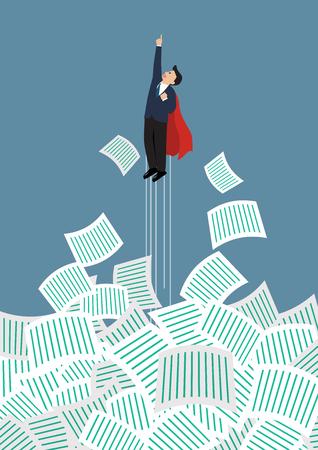 Homme d'affaires super-héros se éloigner de beaucoup de documents. conccept Bureau Illustration