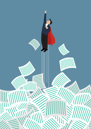 Businessman superhero get away from a lot of documents. Office conccept