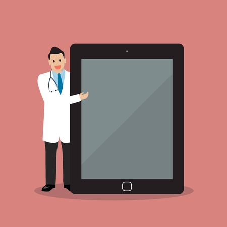doctor tablet: Doctor pointing to the screen of a tablet. vector illustration