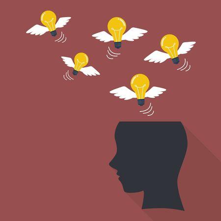 psychology: Lightbulb flying from human head. Idea concept
