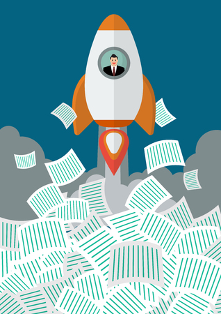 get away: Businessman on rocket get away from a lot of documents. Office conccept Illustration