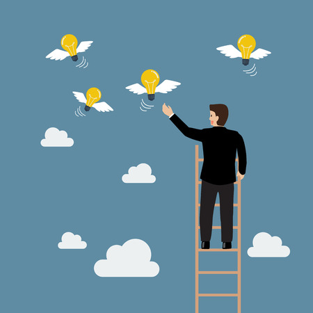Businessman on the ladder catching a light bulb fly. Business concept Illustration