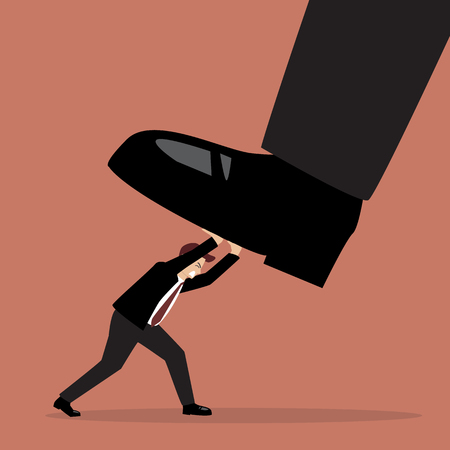 big foot: Businessman pushing big foot. Business concept Illustration