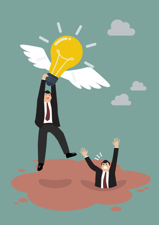 get away: Businessman hold flying lightbulb get away from quicksand. Business concept Illustration