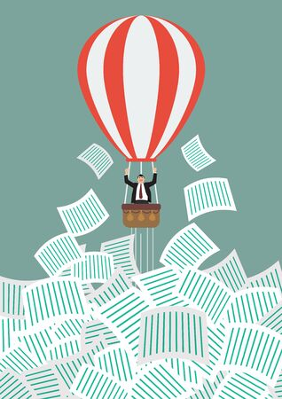 get away: Businessman on hot air balloon get away from a lot of documents. Office concept