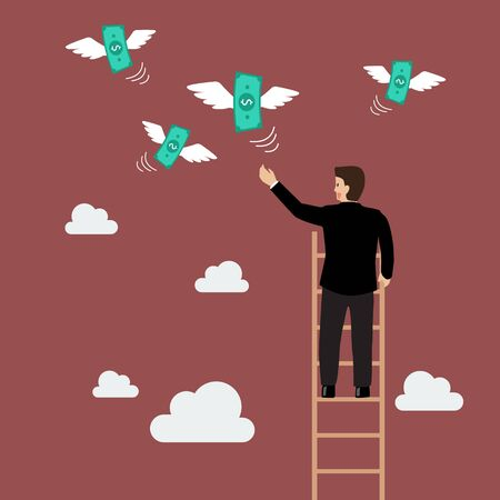 creativity concept: Businessman on the ladder catching a money fly. Business concept