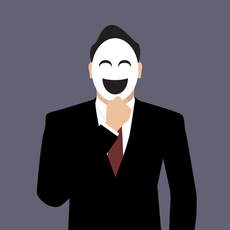 unrecognizable person: Businessman wearing a laughing mask.