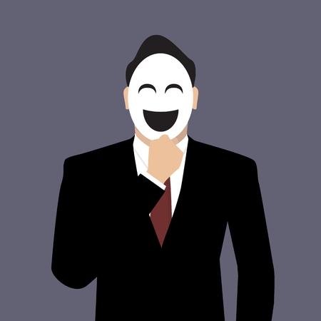 wearing: Businessman wearing a laughing mask.