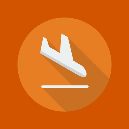 airflight: Transportation Flat Icon With Long Shadow. Arrival Illustration