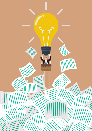 get away: Businessman on lightbulb balloon get away from a lot of documents. Office concept