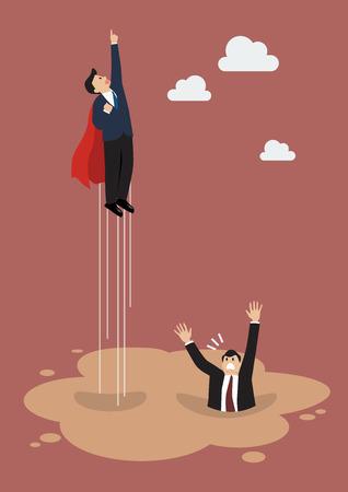 ビジネスマンのスーパー ヒーローは、流砂の水たまりから離れなさい。ビジネス コンセプト