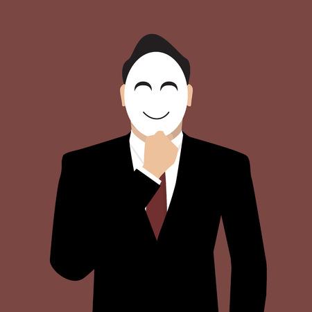 secret identities: Businessman wearing a mask. Illustration