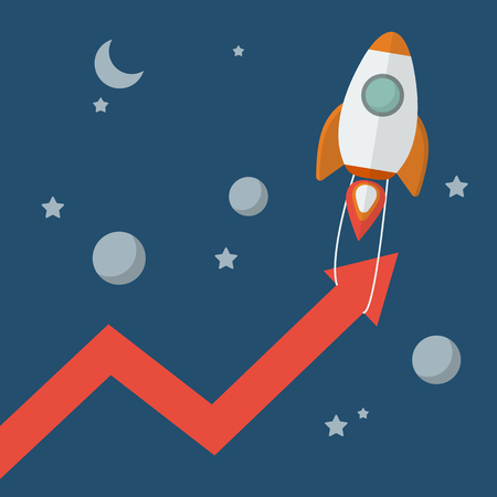 new arrow: Rocket pull arrow graph up. Project start up new business.