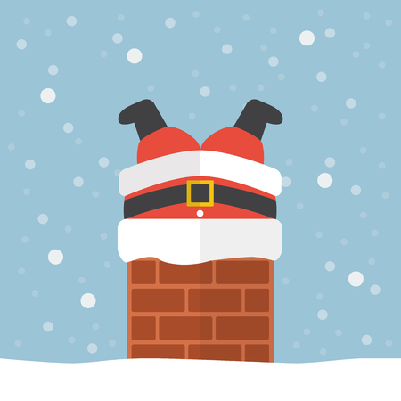 stuck: Santa claus stuck in the chimney. Christmas eve