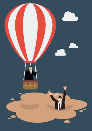 熱気球のビジネスマンは流砂に逃れます。ビジネス コンセプト