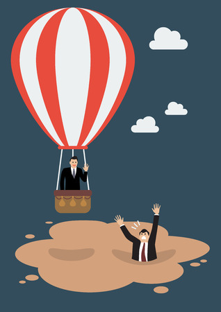 quicksand: Businessman in hot air balloon get away from quicksand. Business concept