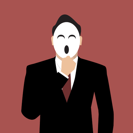 secret identities: Businessman wearing a laughing mask.