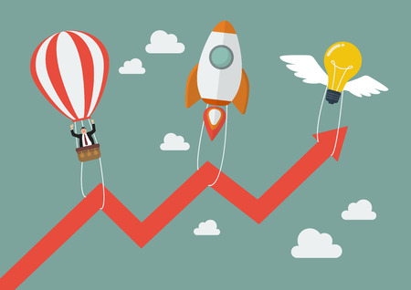 teamwork cartoon: Flying lightbulb Rocket and Balloon pull graph up. Business concept