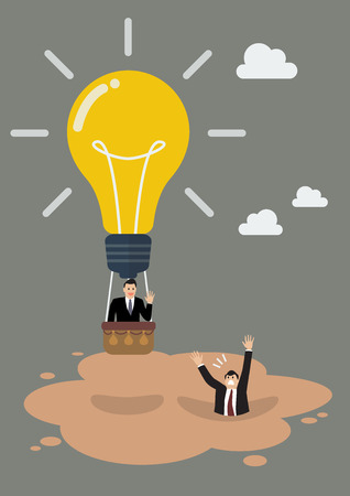 quicksand: Businessman in lightbulb balloon get away from quicksand. Business concept Illustration