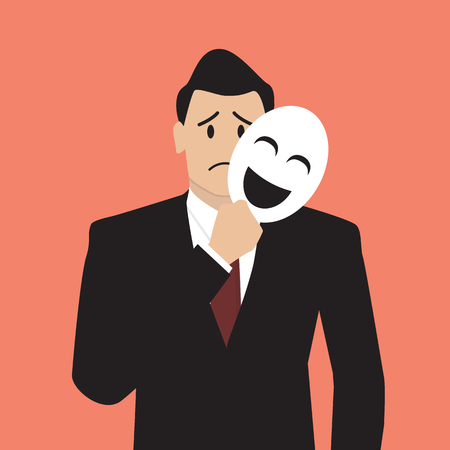 unrecognizable person: Fake businessman holding a smile mask. vector illustration Illustration