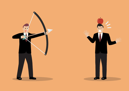 colleague: Businessman aiming to shoot at apple on colleague head. Business risk concept Illustration