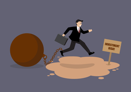 over weight: Businessman with the weight jumping over the quicksand. Business concept