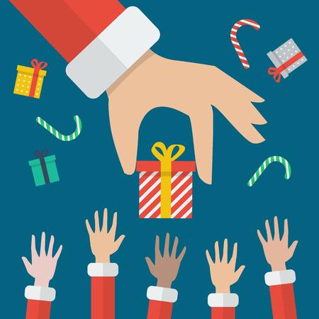 santa hand: Santa Hand Giving Christmas Gift box. flat style