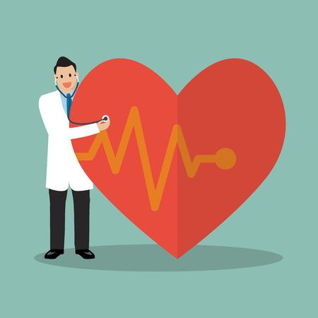 estetoscopio corazon: Doctor que usa el estetoscopio con el corazón grande. ilustración vectorial Vectores