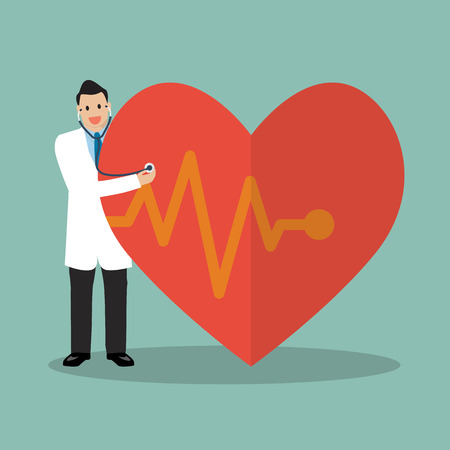 Doctor using stethoscope with big heart. vector illustration