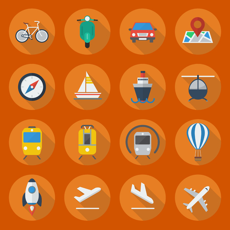 flying boat: Transportation Flat Icon Set Collection