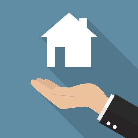 hand holding house: Hand holding house icon. Real estate concept