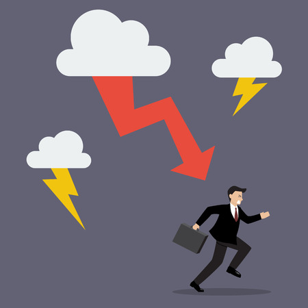 run away: Businessman run away from thunderstorm. Business concept