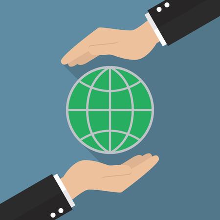 hands holding globe: Hands holding globe. Global Earth Care