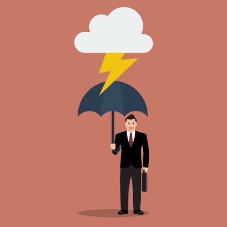 Zakenman met paraplu te beschermen tegen onweer. Business concept Stock Illustratie