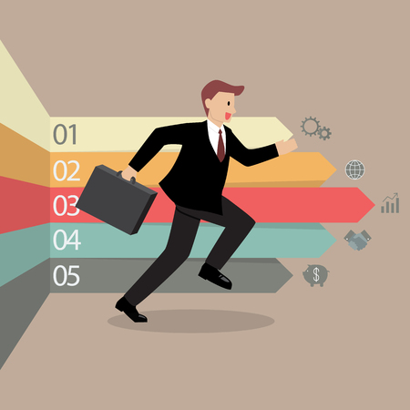 phonographic: Businessman running with arrows infographic in the background