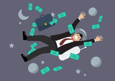 greedy: Greedy businessman floating in the space. Business concept Illustration
