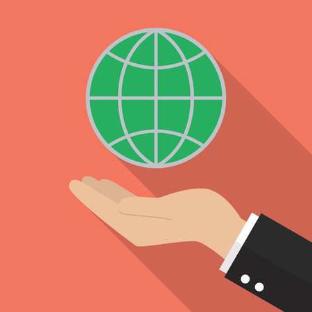 hand holding globe: Hand holding globe. Flat style with long shadow Illustration