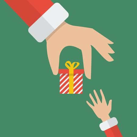 giving: Santa hand giving a gift box to kid. Vector Illustration