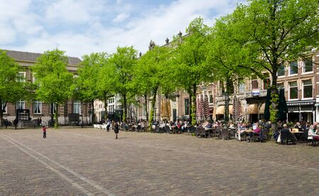 plein: The Hague, Netherlands - May 8, 2015: Dutch People at Cafeteria in Het Plein in The Hagues city centre, Netherlands. on May 8, 2015.