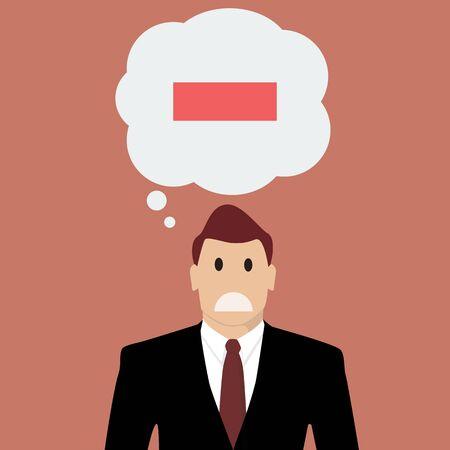 negative thinking: Businessman with negative thinking. Vector Illustration Illustration