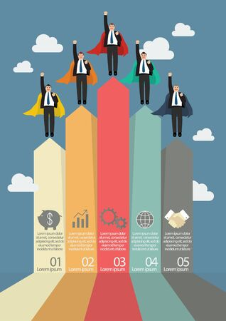 number of people: Arrows business marketing infographic with businessmen superhero Illustration